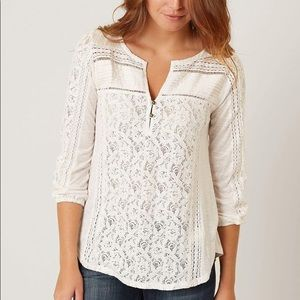 Lucky Brand Pieced Henley Lace Crochet Floral Top